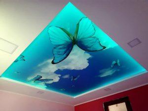 Led napínaný strop s motívom oblohy